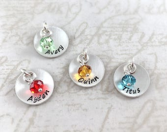 Inspirational, Custom handmade sterling silver name charm with birthstone, hand stamped with custom name, personalized charm