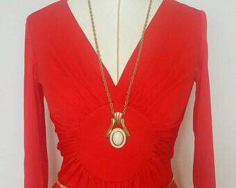 Vintage Trifari Enamel Pendant Necklace