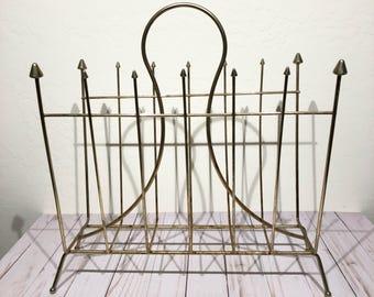 Mid Century Modern Gold Brass Wire Magazine Rack