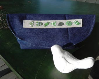 DENIM pouch ' S lined with cotton/frosted glasses sewn 3