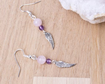 Aile d'ange pierres précieuses boucles d'oreilles | Le quartz rose et améthyste pierres précieuses boucles d'oreilles | Ailes d'ange | Bijoux ange | Boucles d'oreilles plume aile