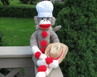 Sock Monkey Doll and Both Baker and Cowboy Hats Gift Set Handmade Brown BopBo the Monkey