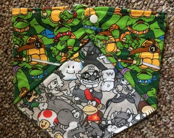 Mario and Ninja Turtles Print Bibdana - Flannel Bib - Reversible Bib
