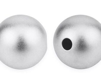 2 Pcs 6 mm Sterling Silver Sandblast Spacer Beads (SS0600RDTN)