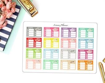 Step Count Small (matte planner sticker, clipart, Erin Condren, Happy Planner, Filofax, Kikki K)