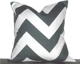 "18"" Chevron Zig Zag Pillow- 18 x 18 Inch Chevron Pillow Cover - Charcoal Grey and White"