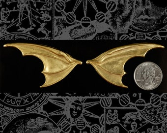 Huge Raw Brass Bat Wings - One Set of Wings  * B-P55