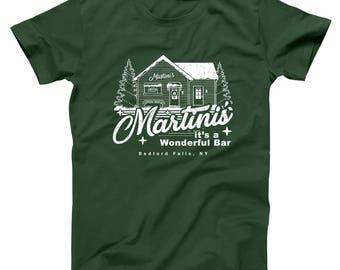 Martini's Wonderful Bar Christmas Holidays Xmas Life Funny Bedford Falls Basic Men's T-Shirt DT2112