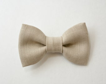 Kids Children Toddler Boys Baby  Light Tan Ivory Linen Clip on / pre-tied  bow tie  Bowtie Vintage Style