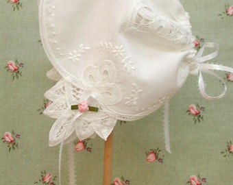 Wedding Handkerchief Baby Bonnet, Baby Bonnet Handkerchief