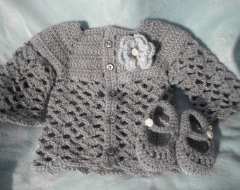Crocheted Baby Girl Cardigan Heather Grey w Matching MaryJanes Infant 3 6 mo