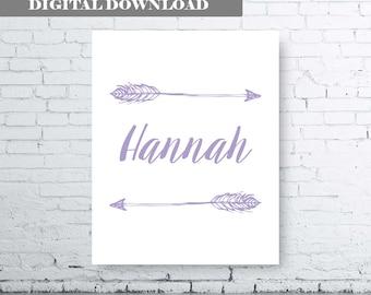 PERSONALISED ARROW NAME printable art.  Lavender Name Art. Girls Name Art. Girl Name Art with Arrow. Arrow Name Art. Light Purple Arrow Art