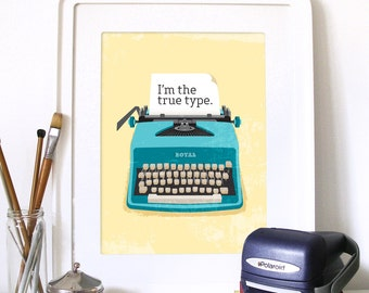Typewriter Modern Office retro Art Poster vintage design inspired RETRO typewriter illustration Print vintage retro Vintage typewriter art