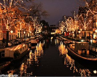 Amsterdam, Holland, Europe, Netherlands, lights, canals