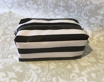 Large Makeup Toiletry Bag {Black & White Stripe}