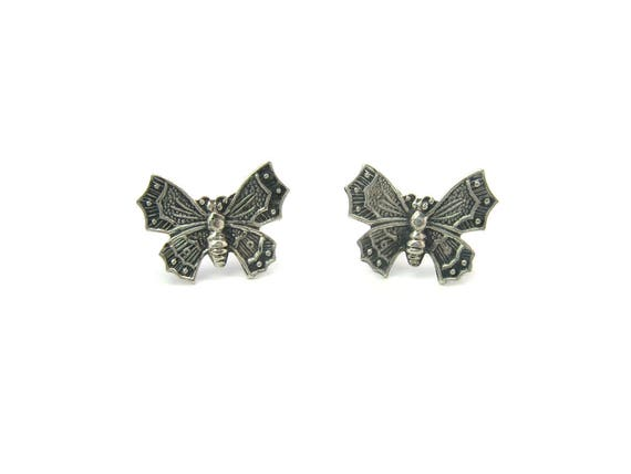 Vintage Petite Chinese Style Sterling Silver Butterfly Earrings