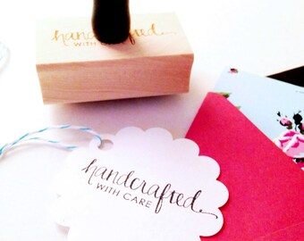 "Calligraphy ""Handcrafted with Care"" Stamp -  for Crafts, Shops, Gifts, Handmade Goods - 1"" x 2"" - Wood Mounted with Handle OR Self-Inking"