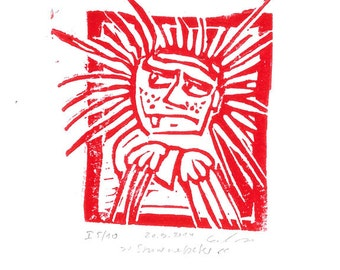 Shock-Headed Peter, art print, handmade, linocut, limited and signed edition