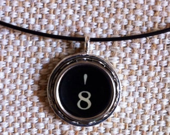 monogram pendant / number 8 and single apostrophe / typewriter key pendant / silver tone pendant on black neckwire