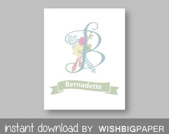 Personalised Girls Nursery Wall Art Print-Digital Download. Floral Name Printable. Floral Nursery Name. Monogram Initial Floral Art