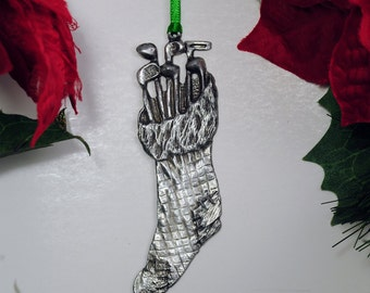 Golf stocking filled w/clubs Christmas Ornament Made in USA