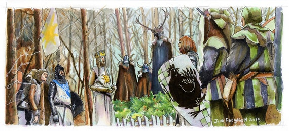 Monty Python and the Holy Grail - The Knights Who Say NI!  Print