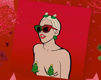 Christmas card - Miley Cyrus - Pop culture card - Greeting Card - Miley Cyrus Christmas Card