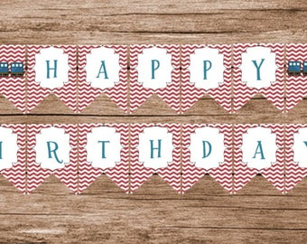Chugga Chugga Two Two, Choo Choo Train Birthday, Banner PDF Instant Download