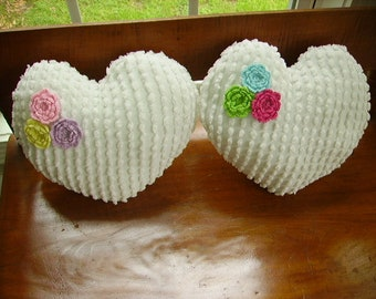 Shabby Cottage Chic(2) Vintage Chenille Heart Shape Pillows with Flowers/Beautiful Super White Chenille Pillows