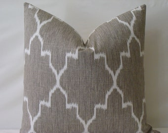 "Monaco Ikat Pillow Cover in Grey/Greige and White - 18"" x 18"" or 20"" x 20""  Decorative Designer Pillow Cover"
