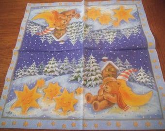 """Pretty paper TOWEL pattern """"little bear asleep in a snowy landscape"""""""