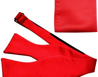 New Men's Solid Red Self-Tie Bowtie and Handkerchief, for Formal Occasions