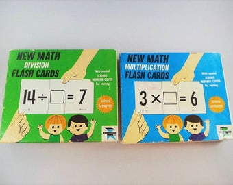 New Math Multiplication Division Flash Cards 1966 Edu cards
