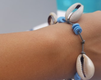 Save the ocean awareness leather and shells bracelet