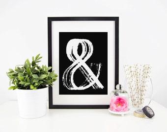 Ampersand Print, Typography Print, 8.5x11 Print, Home Decor, Wall Art, Art Print