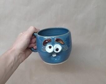 Forgetful Woman Coffee Cups and Mugs. Funny Blue Face Mug for Her. Stressed Woman Coffee Tea Lover Original Gifts. Handmade Pottery Ug Chug