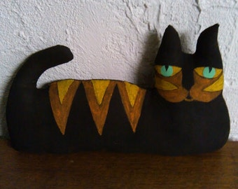 Primitive Art Deco Cat - Shelf Sitter
