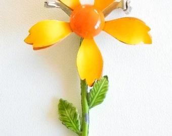 Yellow Orange Green Enamel Floral Flower Pin Brooch