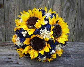 Sunflower Bouquet, Navy Sunflower Bouquet, Bridal Bouquet, Wedding Bouquet
