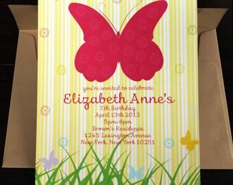 Butterfly Invitation 10/pk   Sweet 16 Invitation   Butterfly Party Invitation   Yellow Invitation   Baby Girl Invitation