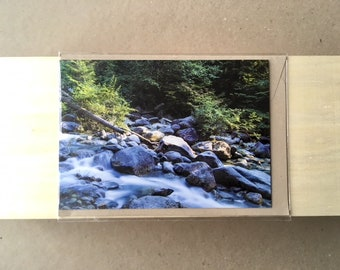 Picturesque landscape photography, running water over rocky riverbed, A6 Gift Card, blank card with envelope, Melbourne artist