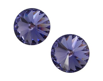 14mm TANZANITE Rivolis Swarovski Rivoli Stones Article 1122 14mm Swarovski Crystal Periwinkle Purple Lavender Lilac