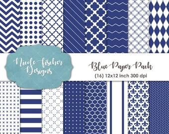 Blue Patterned Paper Pack -INSTANT DOWNLOAD