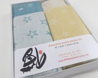 Star bandana bibs in gift box, baby boy bib, baby girl gift, baby shower gift