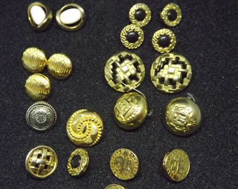 Set of 21 Vintage Buttons - French Retro Golden Buttons - Different kind and sizes