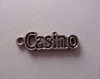 Set of 3 Silver Metal Casino Word charms