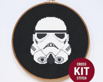 Stormtrooper Cross Stitch Kit, klassische Star Wars Storm Trooper Helm leicht Cross Stitch Kit, Cross Stitch Pattern-Anweisungen
