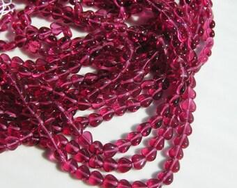 Fuschia 6mm Heart Czech Glass Beads   50