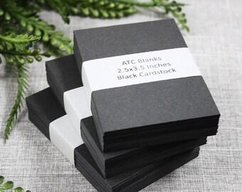 ATC Blanks ACEO Blanks Black Cardstock 50 count Artist Trading Card Supplies ACEO Supplies Altered Art Mixed Media Scrapbooking