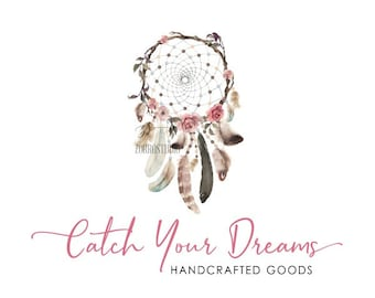 Rustic Premade Logo Dreamcatcher Logo Boho Feathers Calligraphy Watercolor Arrows Logo Custom Business Card Branding Wedding Signs PL416